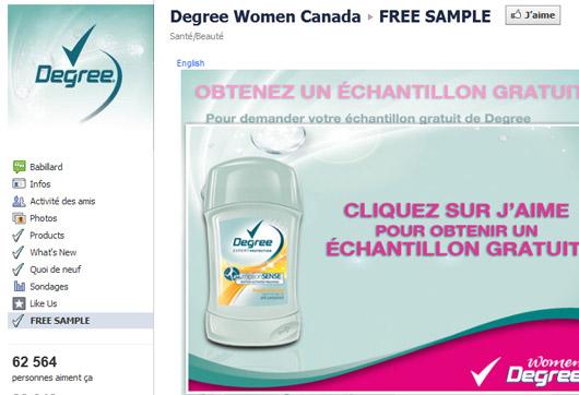 Échantillons Degree Women