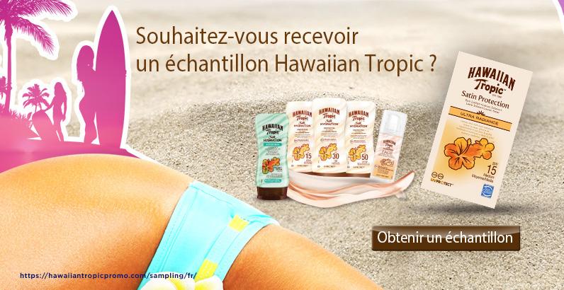 Échantillons gratuit de crèeme solaire hawaiian Tropic