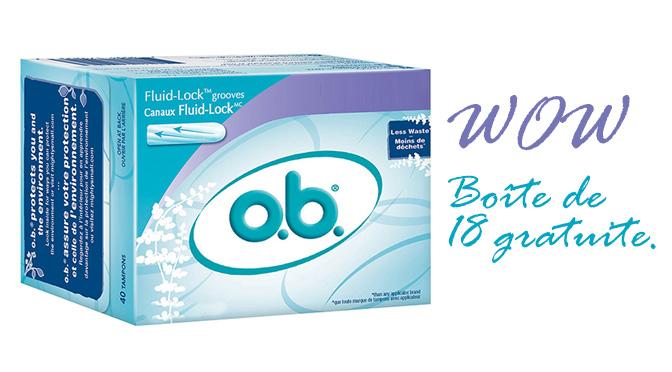Boîte de tampons O.b. gratuite
