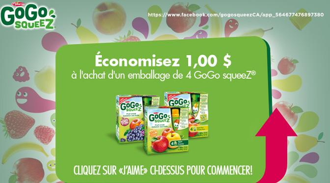 Coupon-rabais 1$ Gogo Squeez