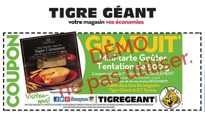 Mini-Tarte Gratuite Tigre Géant