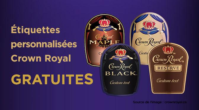 Étiquettes Crown Royal gratuites
