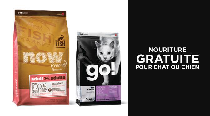 nourriture pour chat ou chien gratuite Go! ou Now Fresh