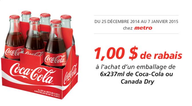 coupon rabais de coca-cola chez Metro