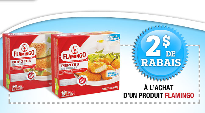 Coupon rbais de 2$ sur des produits flamingo