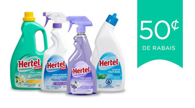 coupon rabais de produits nettoyant Hertel