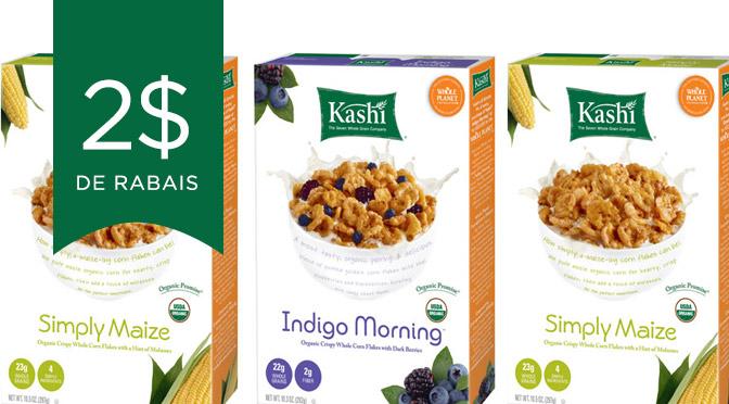 Imprimez votre coupon rabais de 2$ sur les céréales Kashi