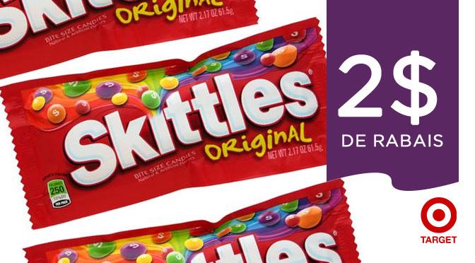 Coupon rabais de 2$ sur les bonbon Skittles