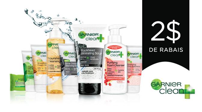coupon rabais pour Garnier Clean Plus