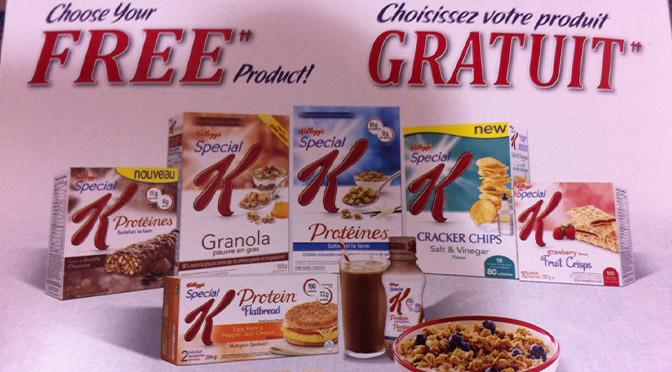 Promotion Kellogg's Special K , produit gratuit.