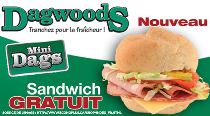 Coupon pour un sandwich mini dags gratuit de Dagwoods