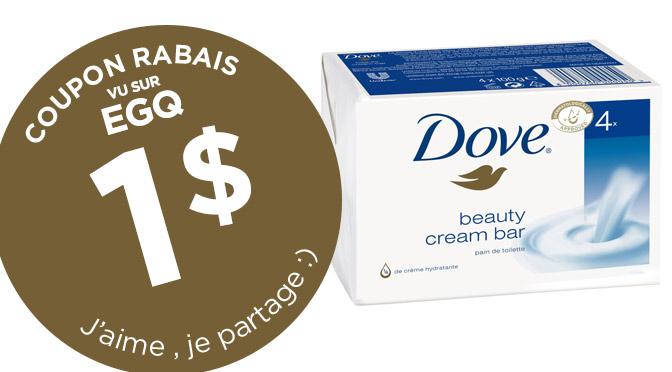 Coupon rabais sur le pain de savon Dove