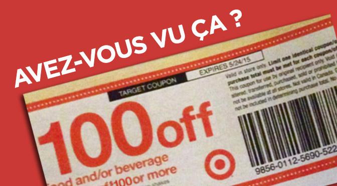 coupon rabais target walmart de 100$
