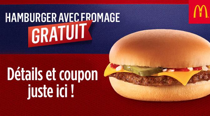 Cheeseburger gratuit chez Mcdonal 27 avril 2015