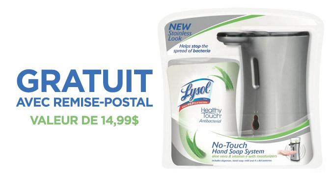 Pompe a savon lysol no-touch gratuit