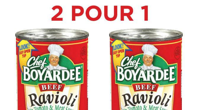 Chef Boyardee coupon rbais 2 pour 1 gratuit