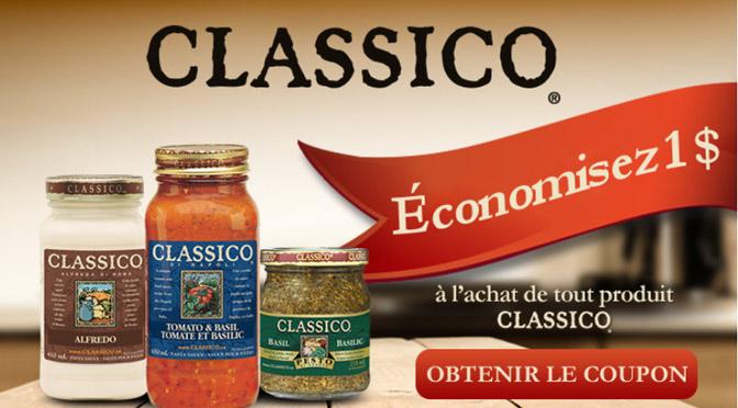 Coupon rabais sur la sauce Classico 1$