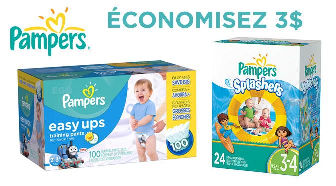 3$ d'économie rabais gratuit Pampers Easy Ups
