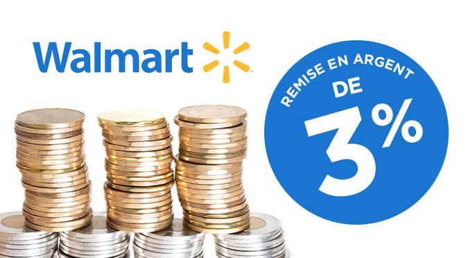 remise en argent Walmart de 3%