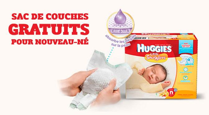 sac de couches gratuits pour bébé Huggies