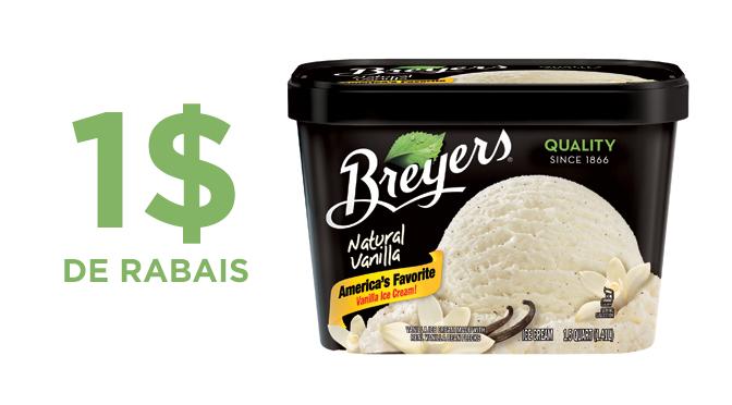 1$ de cashback sur la crème glacée Breyers
