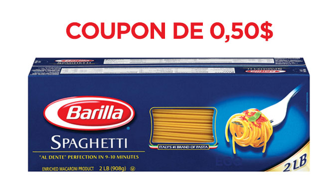 Coupon rbais de 0.50$ Barilla