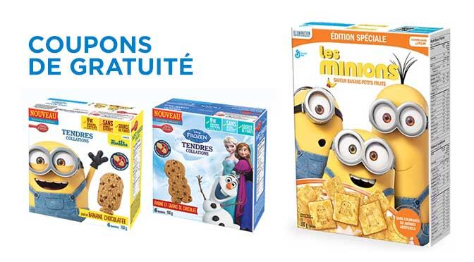 Coupon de gratuité barre tendre et céréales Les Minions et Betty Crockers