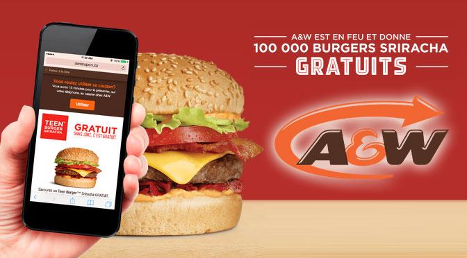 Teen burger gratuit chez A&W