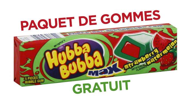 Paquet de gomme gratuit Hubba Bubba