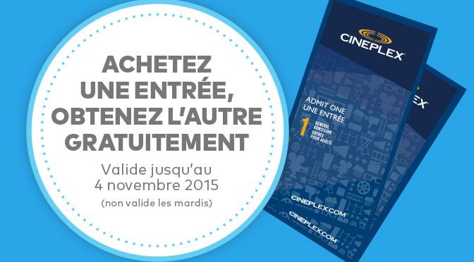 Coupon 2 pour 1 cinemas cineplex