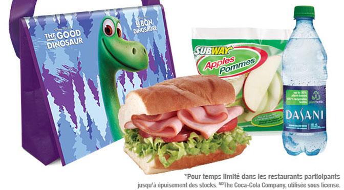 Gratuité à l'achat d'un repas pour enfant subway