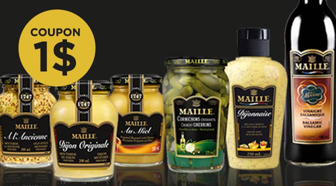 Maille, moutarde, Cornichon, rabais de 1$