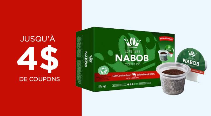 Coupon rabais 4$ Nabob Kcup Keurig