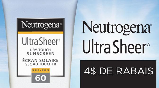 coupon rbais neutrogena creme solaire 4$